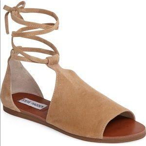 Steve Madden Elaina Suede Sandals Flats Wrap Ankle